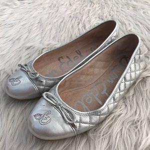 Sam Edelman Silver Quilted Ballet Flats